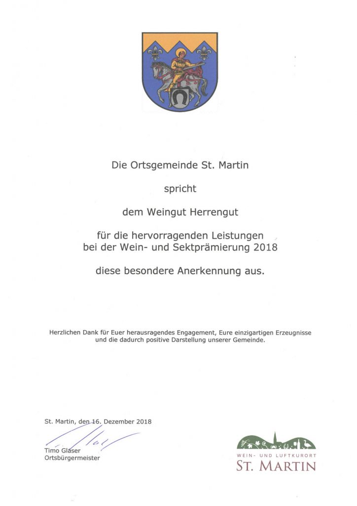 Ehrung der Ortsgemeinde St. Martin für das Herrengut